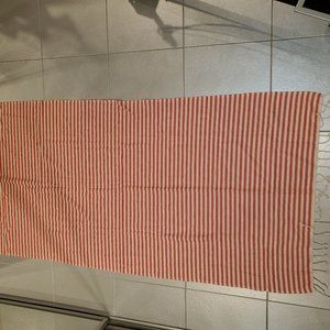 Kisa red and ivory stripped blanket/throw